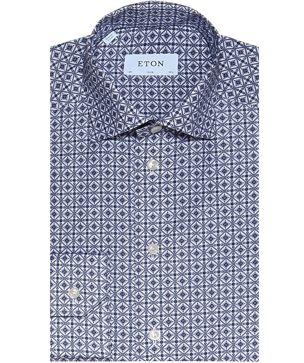 b94a7691fe Eton Blue Slim Fit Azulejo Print Shirt