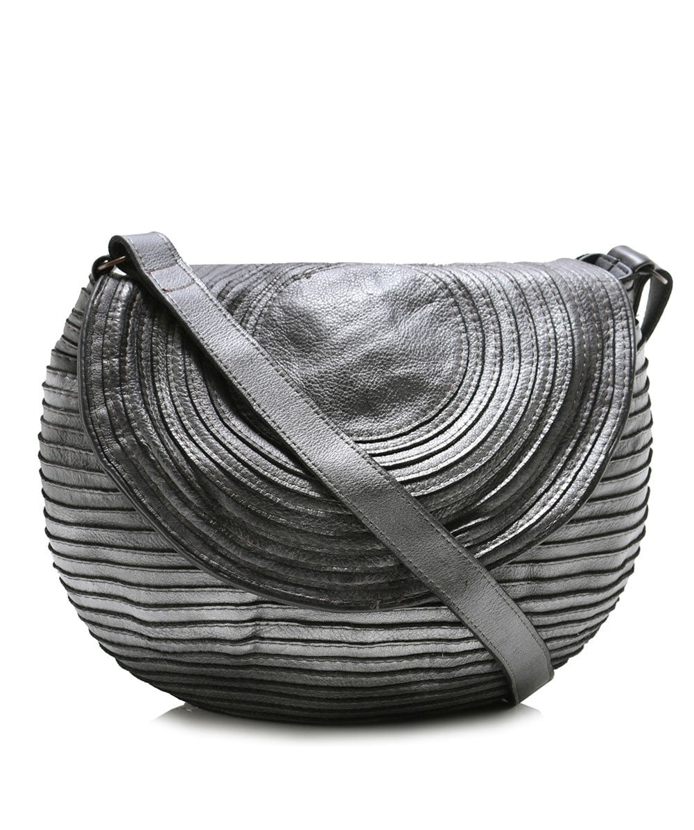 Majo Silver Small Leather Slouch Bag
