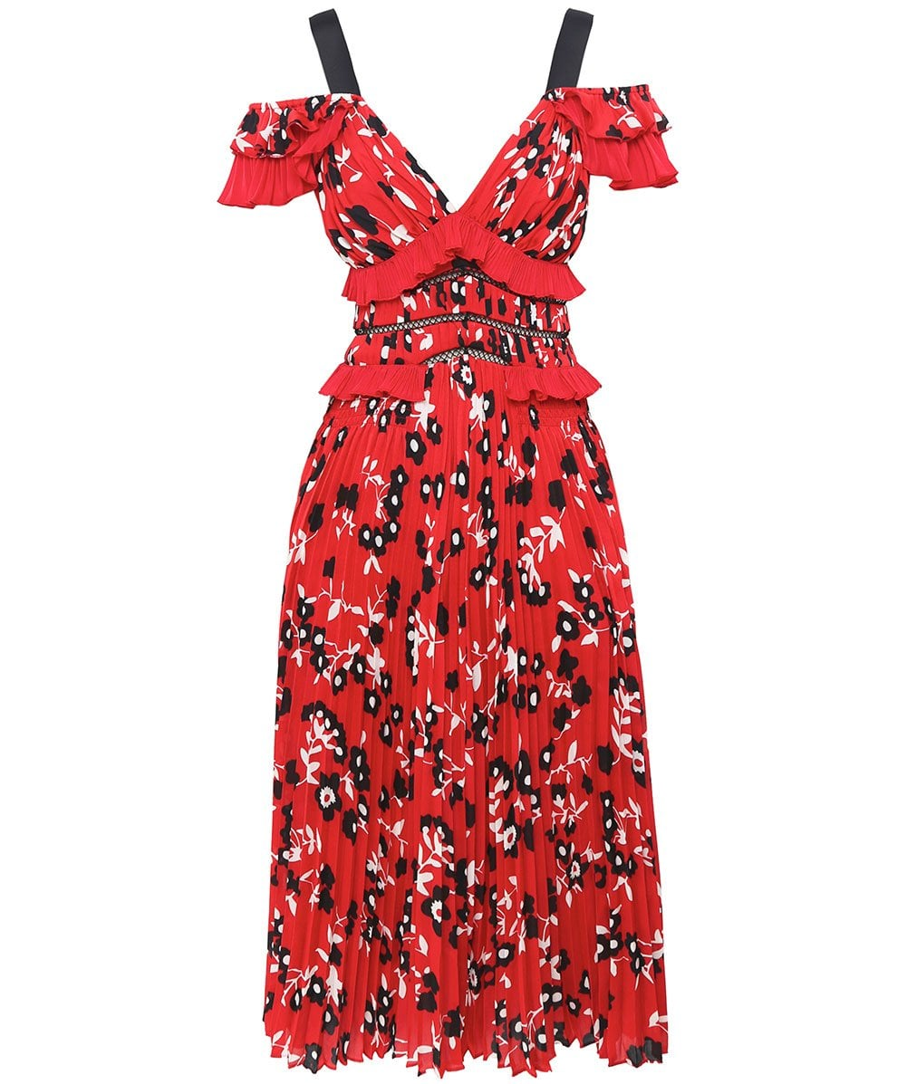 893aaf09fae2 Self-Portrait Red Cold Shoulder Floral Print Dress