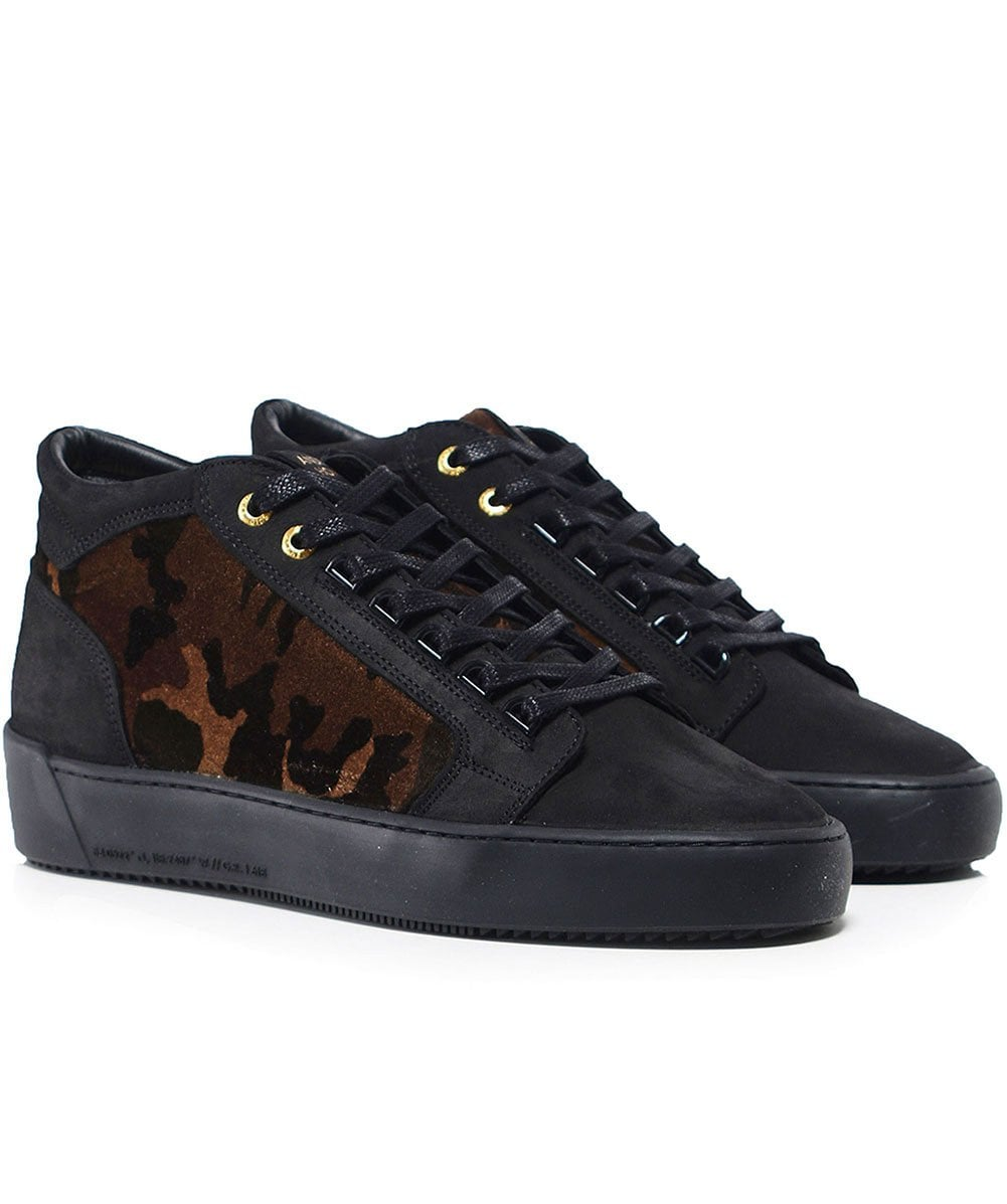 fe9119dcfb13 Android Homme Black Propulsion Mid Top Camouflage Velvet Trainers ...