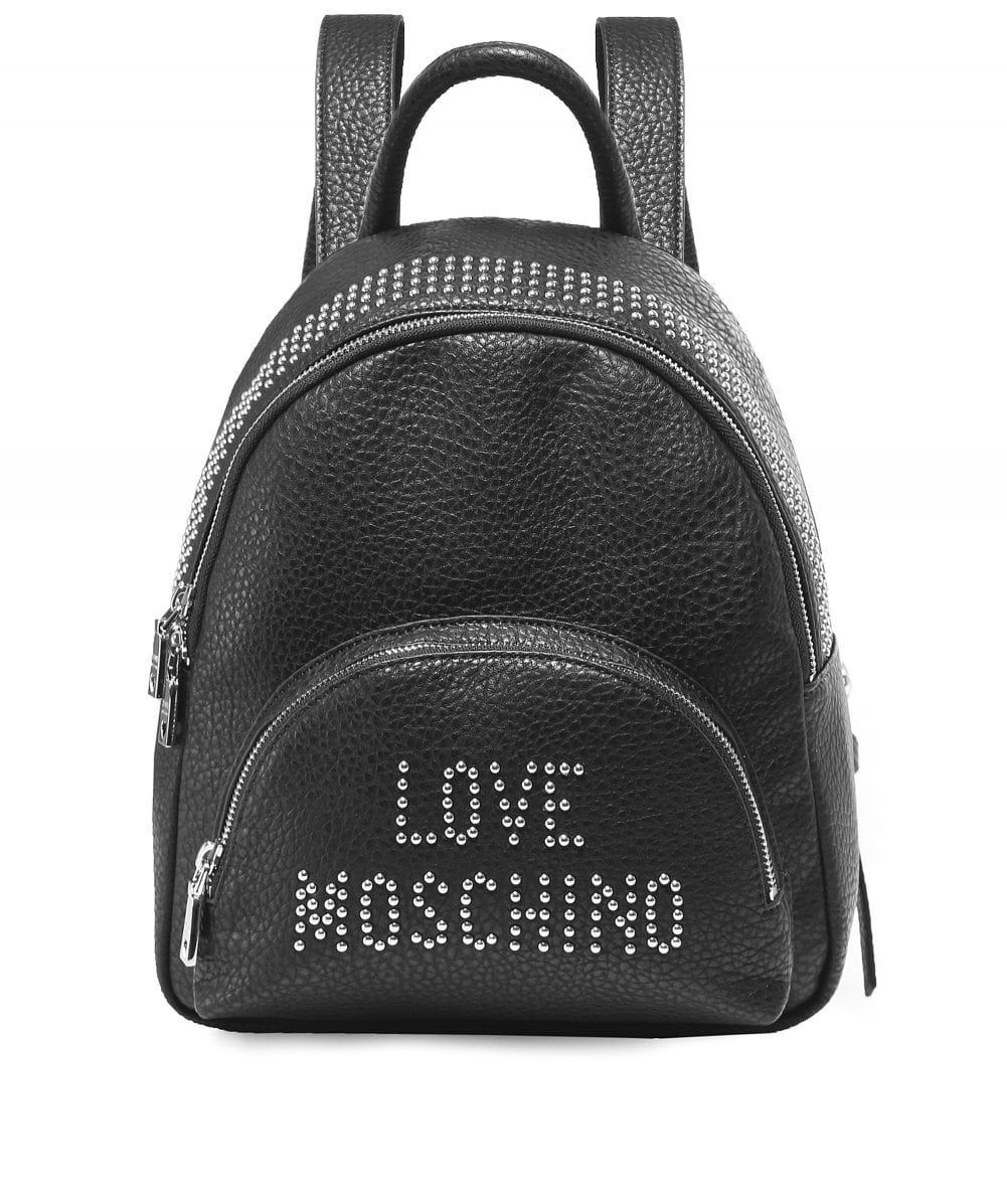 Moschino Love Moschino Black Studded Logo Backpack  476c0aaab79a5