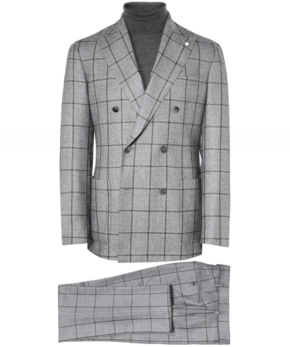 c1971d084a276 Luigi Bianchi Grey Wool Double Breasted Windowpane Check Suit