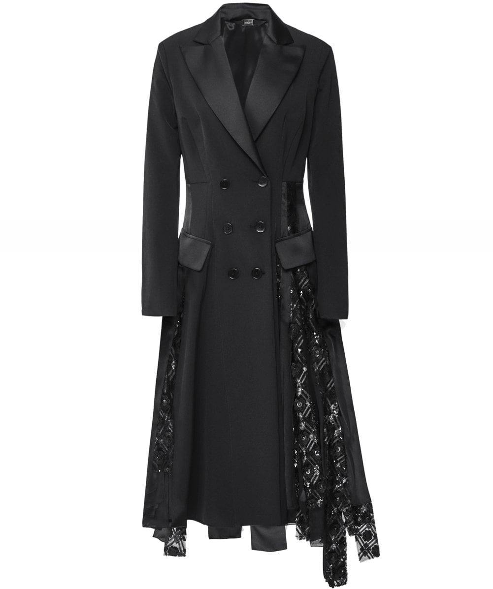 High Black Dramatic Tuxedo Style Coat Dress | Jules B