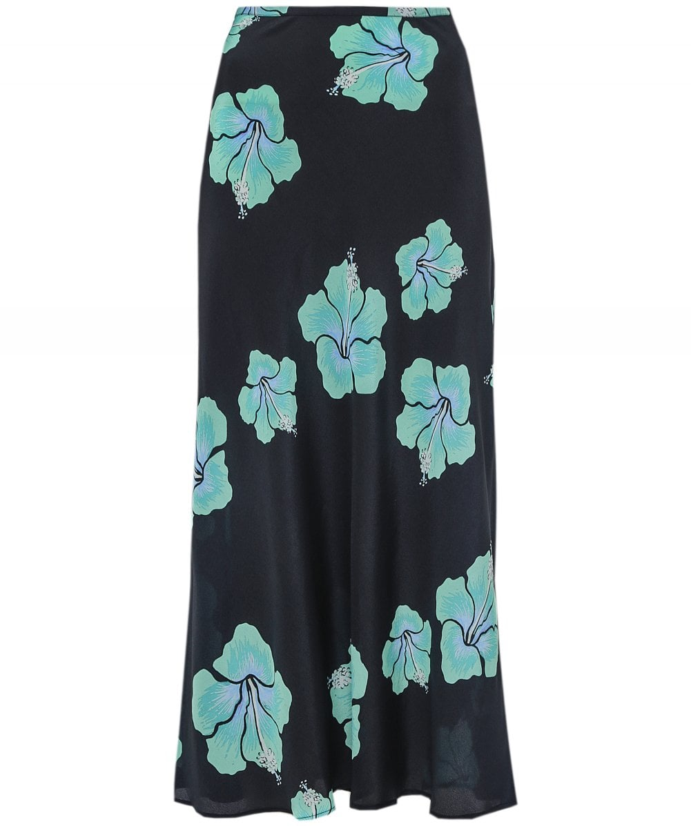 RIXO Kelly Silk Hawaiian Floral Skirt