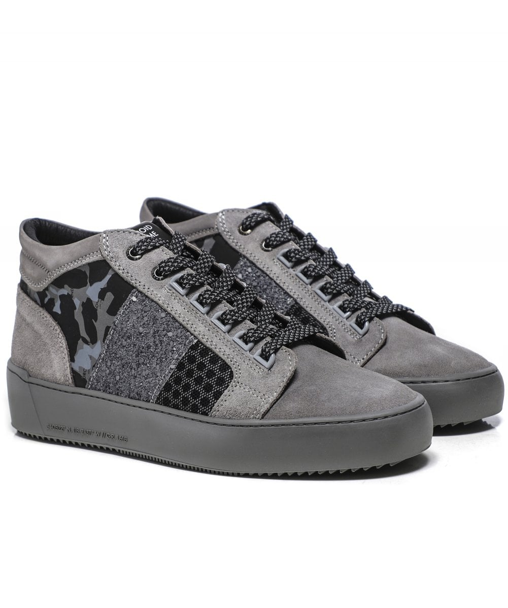 Android Homme Grey Suede Camo Propulsion Mid Trainers Jules B