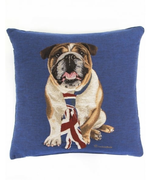 fs home collections british bulldog cushion available at jules b. Black Bedroom Furniture Sets. Home Design Ideas