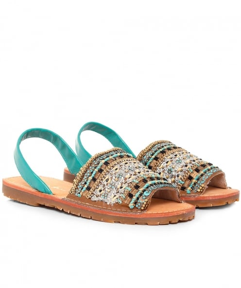 Alma en Pena Beaded Sling Back Sandals