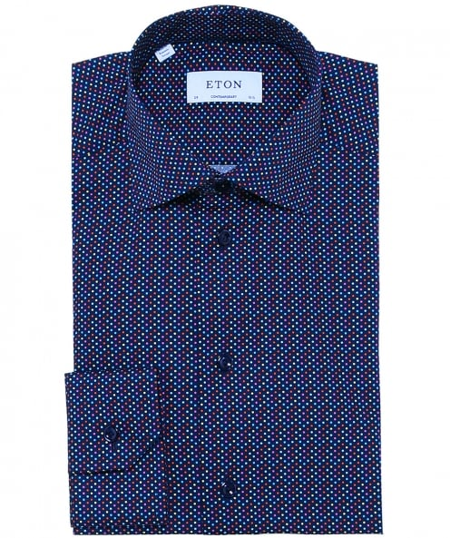 Eton Contemporary Fit Dot Twill Shirt