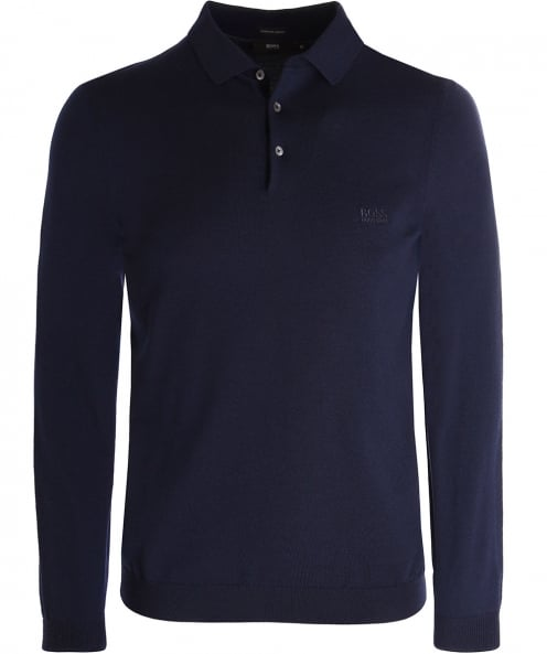 BOSS Wool Bono-L Long Sleeve Polo Shirt
