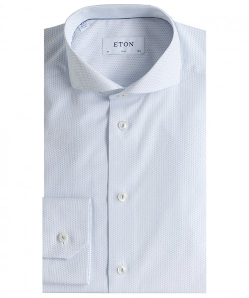 Eton Slim Fit Micro Pattern Poplin Shirt