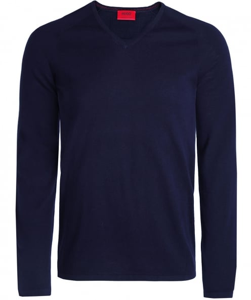HUGO Silk Blend V-Neck San Jose Jumper