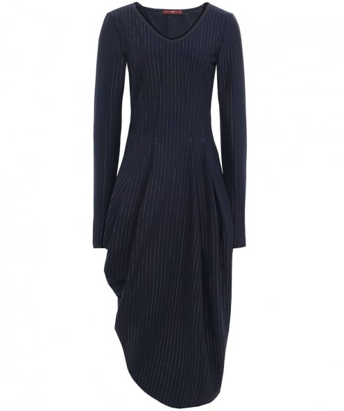 High Pinstripe Slender Midi Dress