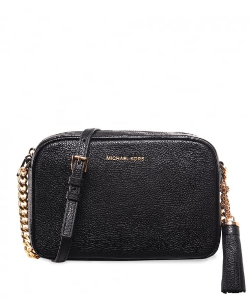 f125943de448f7 Michael Kors Black Pebbled Leather Ginny Crossbody Bag | Jules B