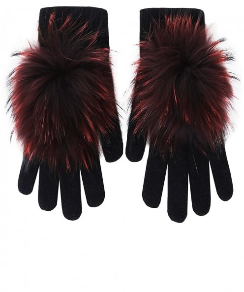 Yves Salomon Knitted Fur Gloves