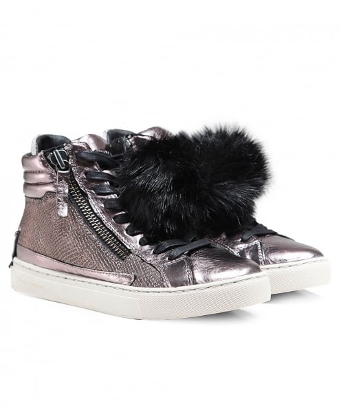 Crime London Java Pom Pom High Top Trainers