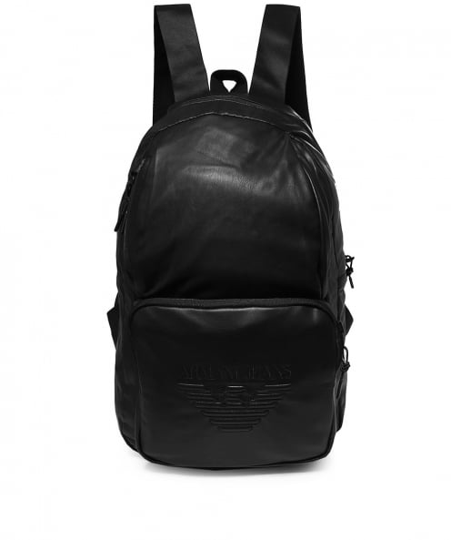 Armani Jeans Faux Leather Logo Backpack