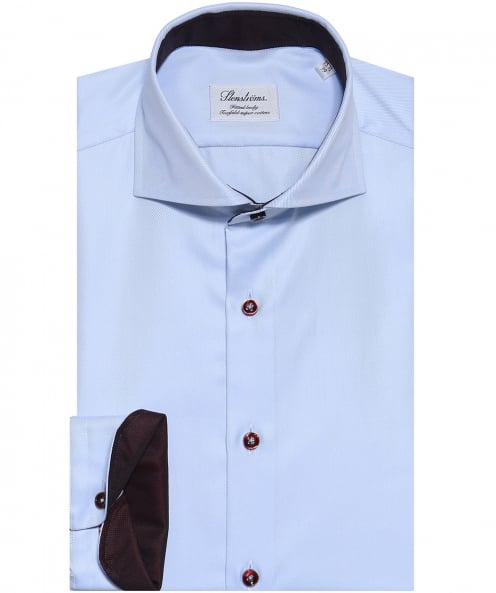 Stenstroms Fitted Contrast Trim Shirt