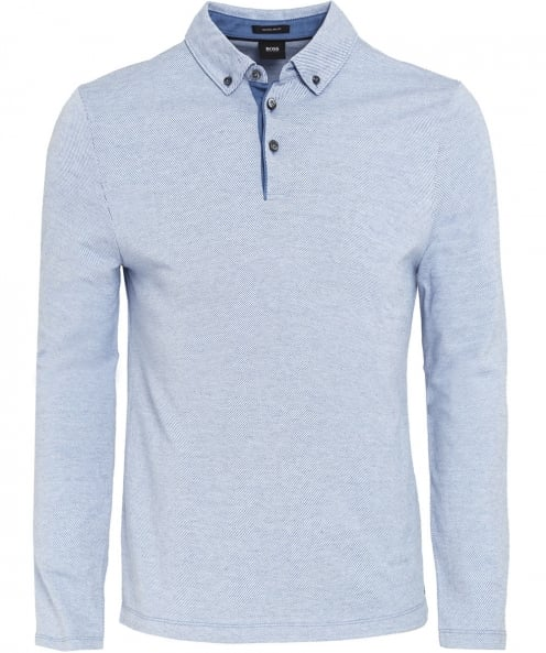 BOSS Regular Fit Long Sleeve Pickell Polo Shirt