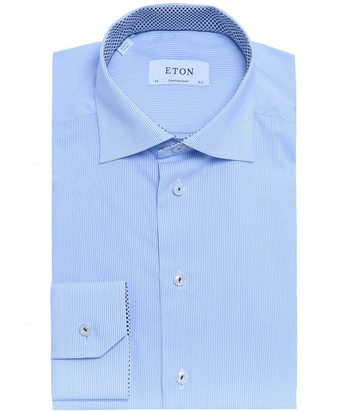 Eton Contemporary Fit Striped Poplin Shirt