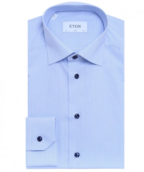 Eton Slim Fit Check Poplin Shirt