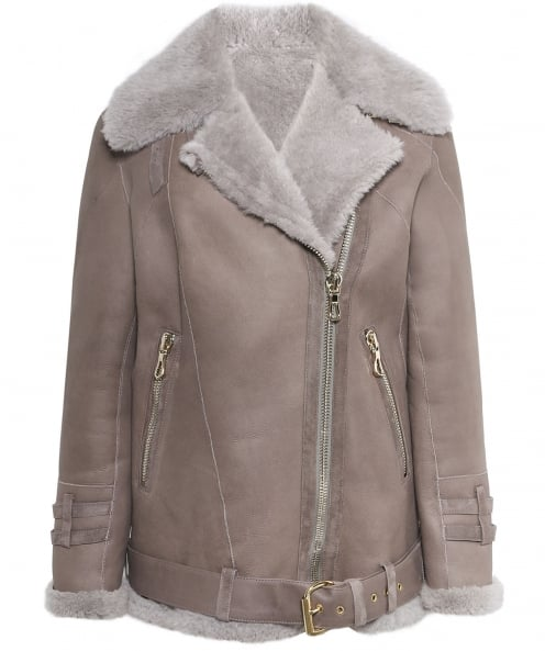 Dom Goor Shearling Teddy Aviator Jacket