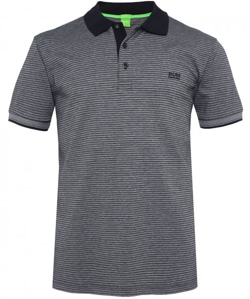 BOSS Green Striped Jersey Paddos Polo Shirt