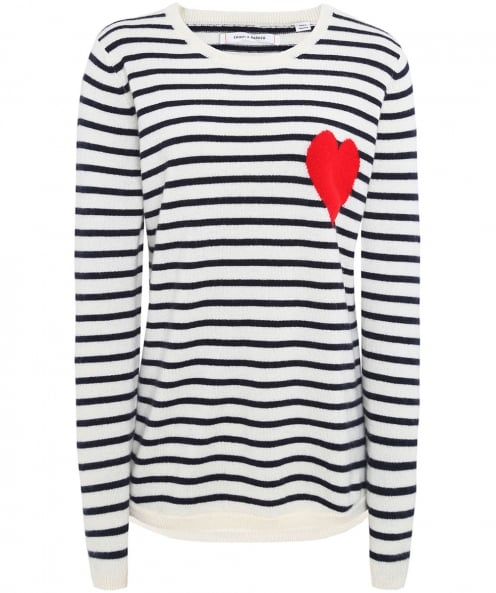 Chinti and Parker Cashmere Breton Heart Jumper