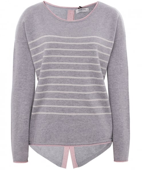 Cocoa Cashmere Striped Shimmering Cashmere Star Jumper