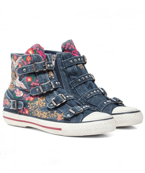 Ash Embroidered Denim Vivi Trainers