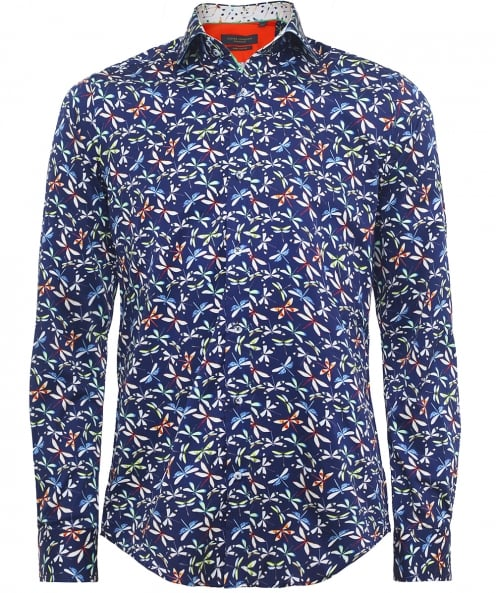 Guide London Slim Fit Dragonfly Print Shirt