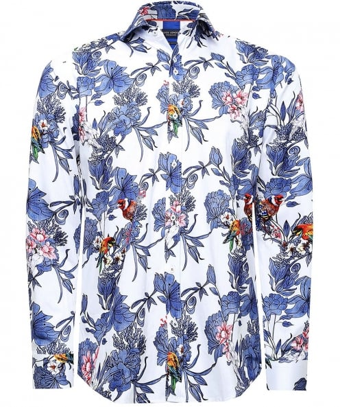 Guide London Slim Fit Bird & Floral Print Shirt