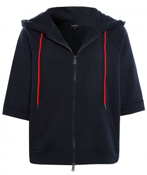 Armani Cropped Sleeve Hooded Sweatshirt