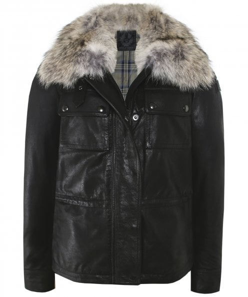 Belstaff Ocelot Fur Trim Leather Jacket