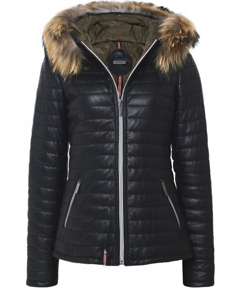 Oakwood Happy Fur Trim Hooded Leather Jacket