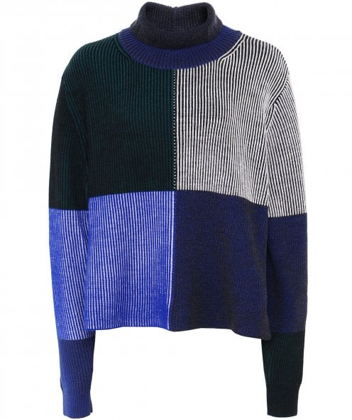 PS by Paul Smith Wool Geometric Stripe Roll Neck Jumper