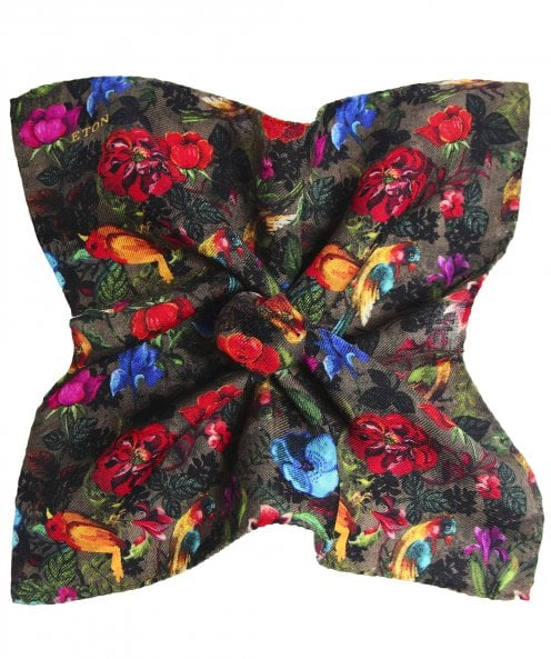 Eton Silk Blend Floral Pocket Square