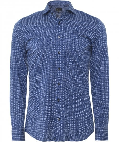 Baldessarini Slim Fit Jersey Cotton Micro Pattern Shirt