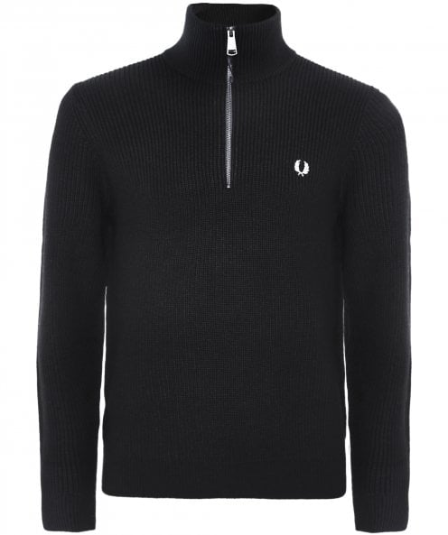 Fred Perry Wool Blend Ribbed Half-Zip Jumper