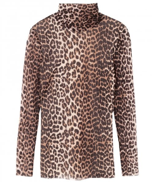 Ganni Tilden Leopard Print Mesh Roll Neck Top
