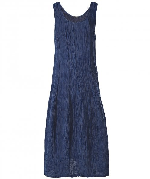 Grizas Linen and Silk Blend Sleeveless Crinkled Dress