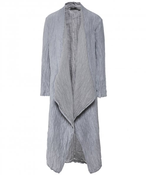 Grizas Linen and Silk Blend Crinkled Long Jacket