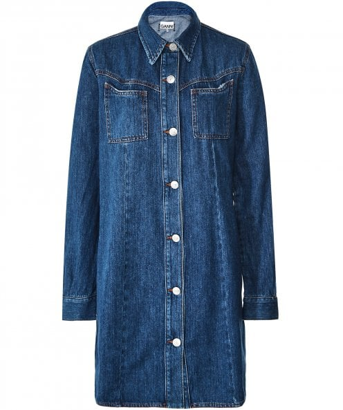 Ganni Sagamore Denim Shirt Dress