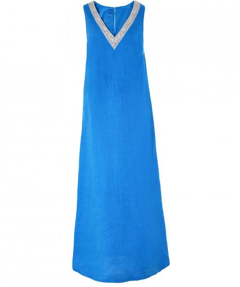 120% Lino Linen Beaded V Neck Maxi Dress