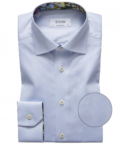 Eton Slim Fit Floral Trim Shirt