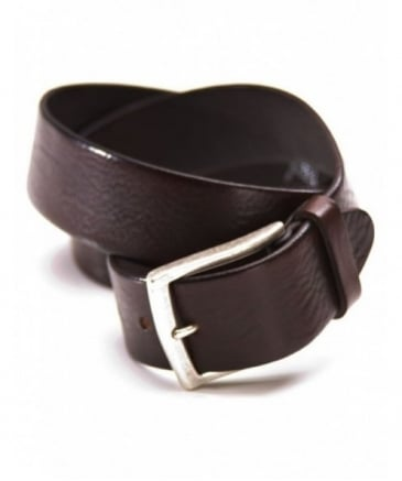 Fred Perry Tumbled Leather Belt Chocolate 34'