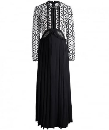 Guipure Pleated Maxi Dress