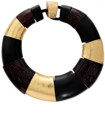 Monies striped ring necklace - Black ulcWz