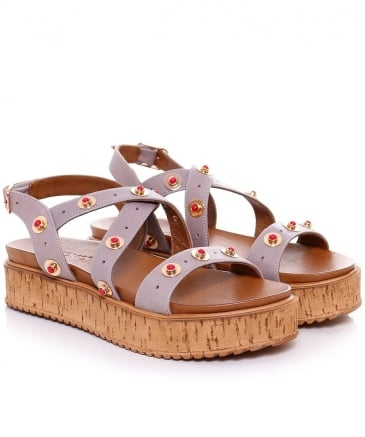 Studded Cork Wedge Sandals