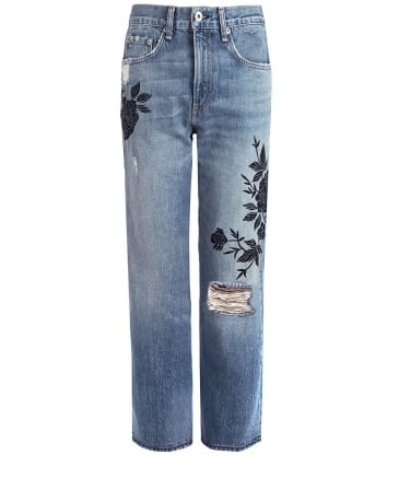 Embroidered Marilyn Cropped Jeans
