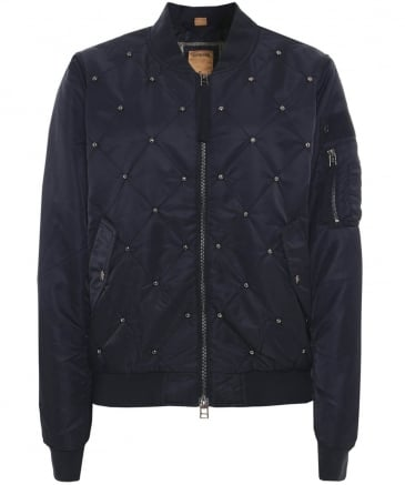 Stud Quilted Bomber Jacket